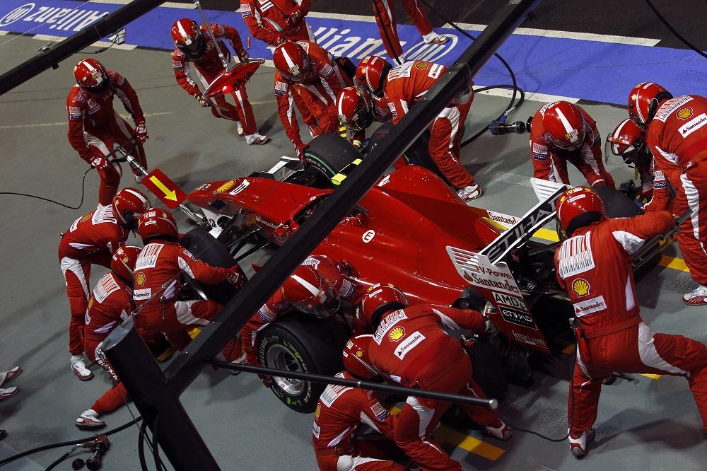 Ferrari pit stop at 2010 Singapore Grand Prix