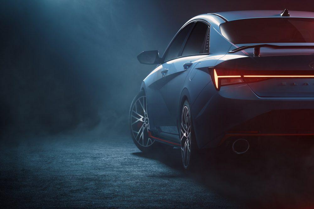 Shadowy rear side view of Hyundai Elantra N