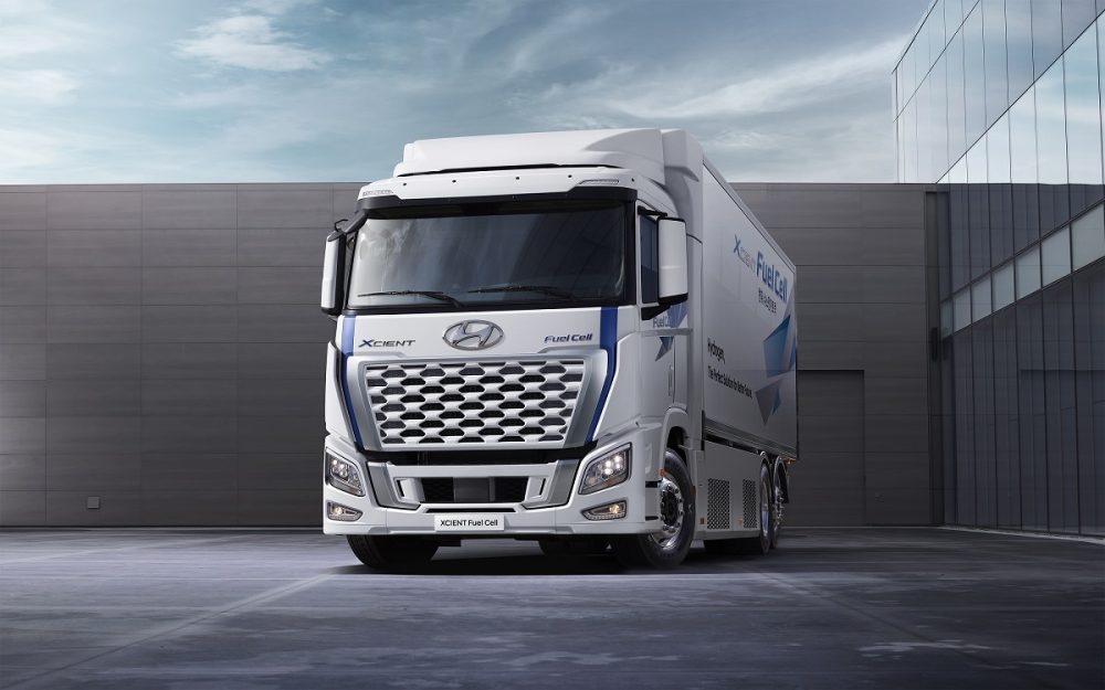 Front view of Hyundai Xcient Fuel Cell truck