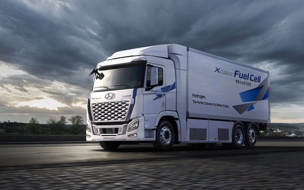 Front side view of Hyundai Xcient Fuel Cell truck
