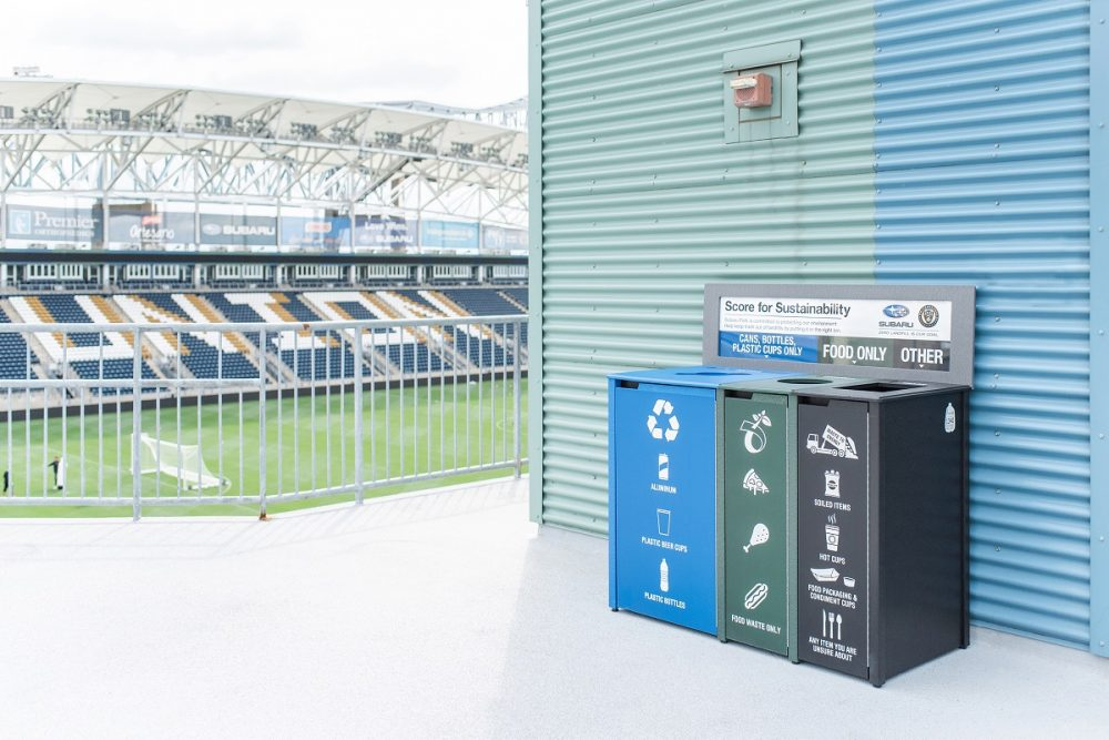Philadelphia Union soccer team stadium with recycling bins in open area
