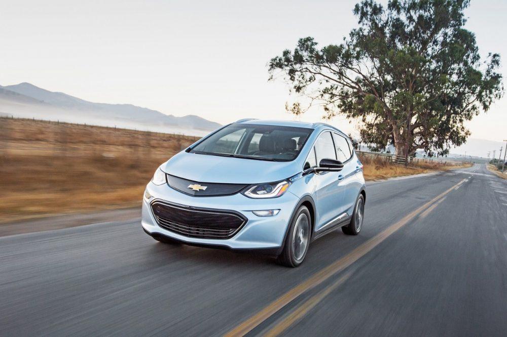 2017 Chevrolet Bolt EV driving down the street