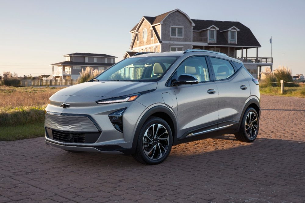 2022 Chevrolet Bolt EUV in front of a house