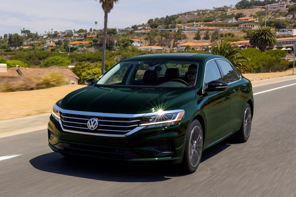 Front view of the 2022 Volkswagen Passat Limited Edition in Racing Green Metallic paint