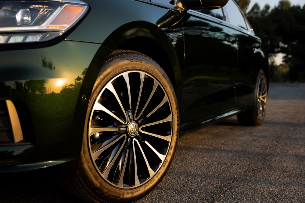 Close up of the front left wheel of the 2022 Volkswagen Passat Limited Edition
