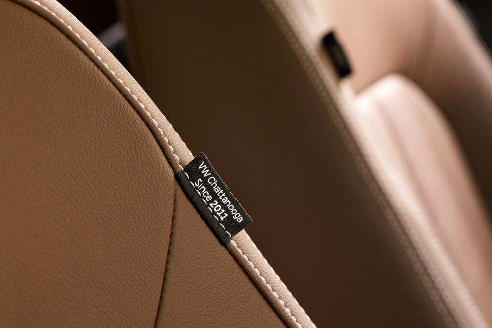 """Close up of the 2022 Volkswagen Passat Limited Edition seat tags with """"VW Chattanooga Since 2011"""" sewn on them"""