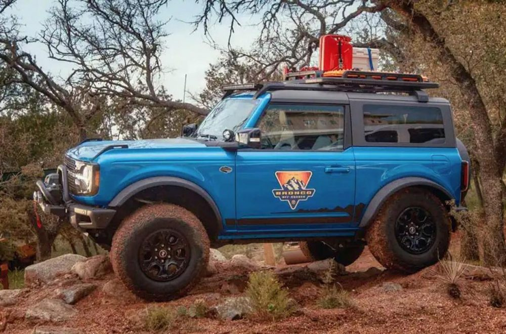 A 2021 Ford Bronco two-door with a Bronco Off-Roadeo livery