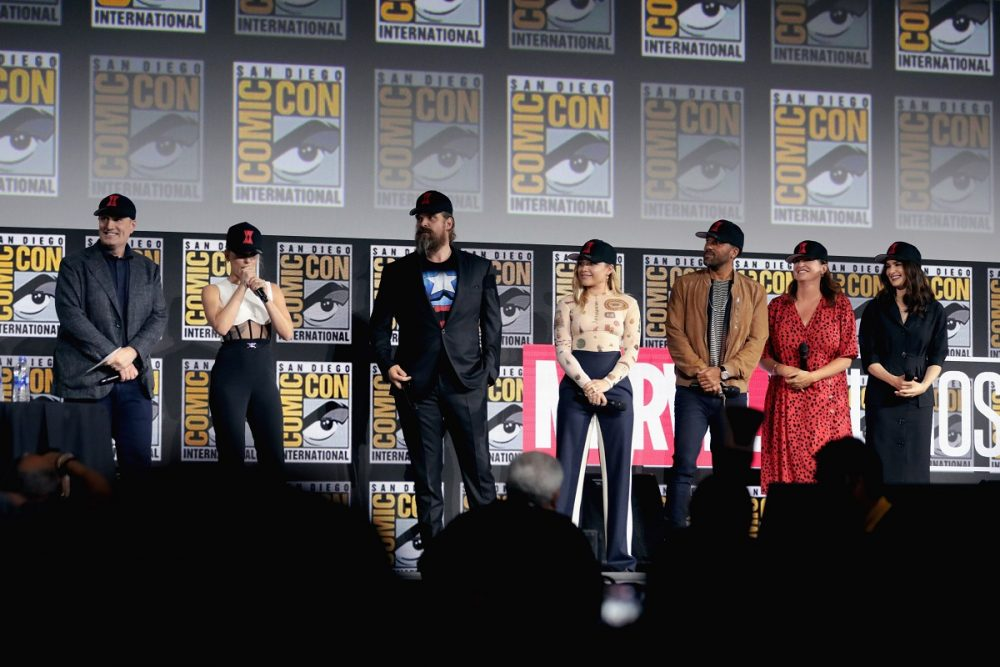 """Kevin Feige, Scarlett Johansson, David Harbour, Florence Pugh, O. T. Fagbenle, Cate Shortland and Rachel Weisz speaking at the 2019 San Diego Comic Con International, for """"Black Widow"""", at the San Diego Convention Center in San Diego, California."""