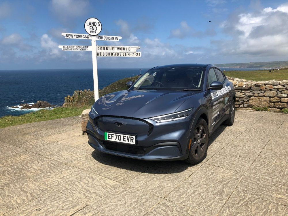 Guinness World Record-winning Mustang Mach-E at Land's End in England