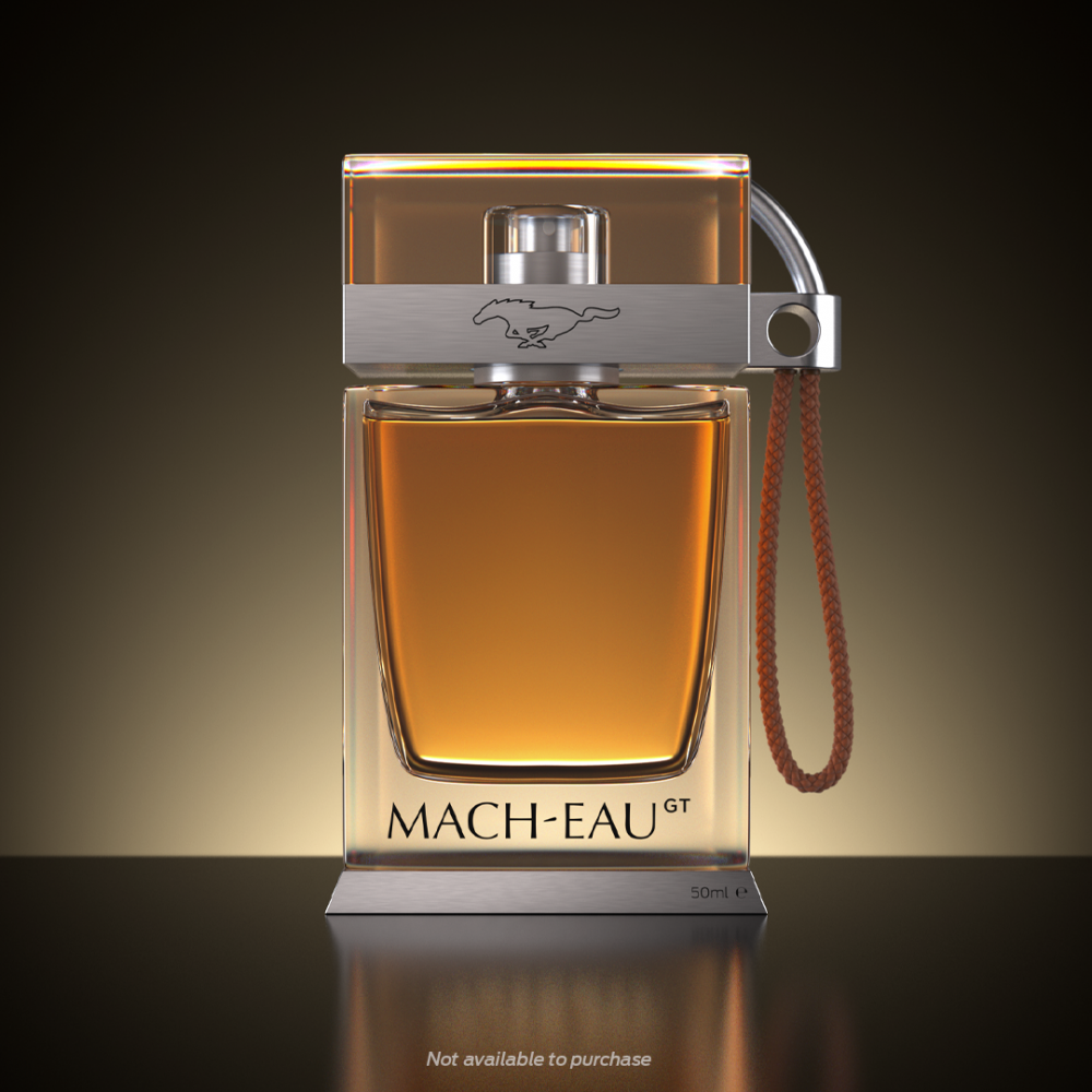 A bottle of the Mach-Eau fragrance Ford created to promote the Mustang Mach-E GT and GT Performance Edition at the 2021 Goodwood Festival of Speed