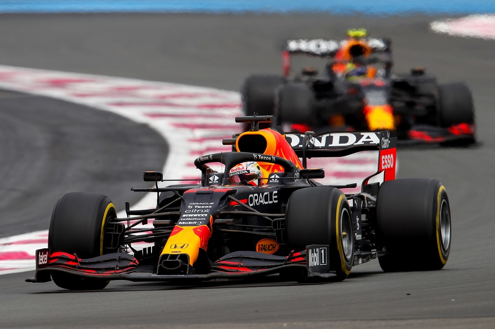 Max Verstappen leads Sergio Perez in the Red Bull-Honda RB16b at the 2021 French Grand Prix