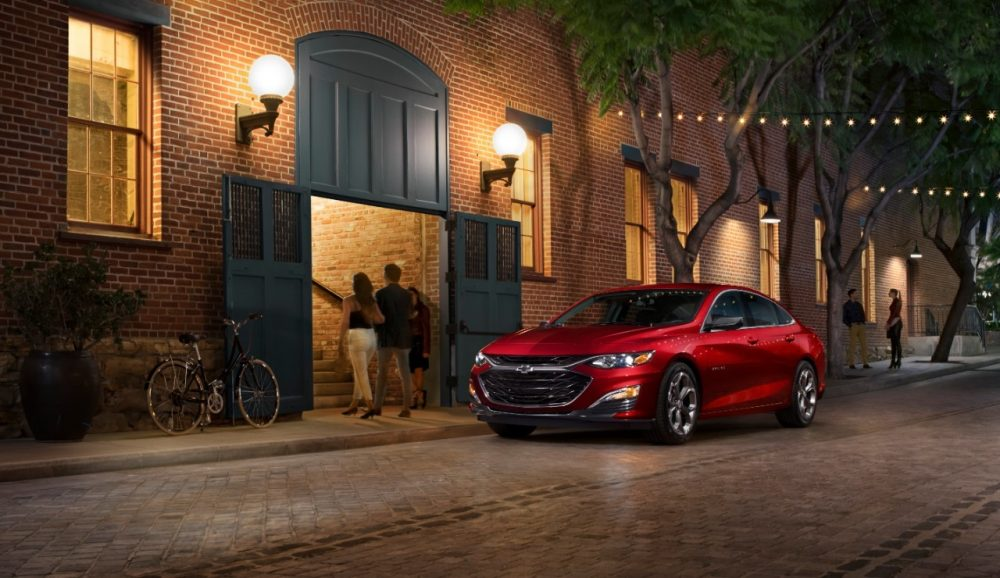 The 2019 Chevrolet Malibu RS parked on the street at night