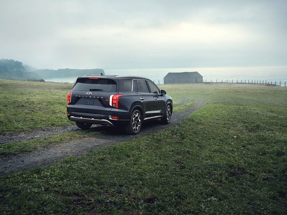 Rear side view of 2021 Hyundai Palisade on off-road track near seaside cliffs
