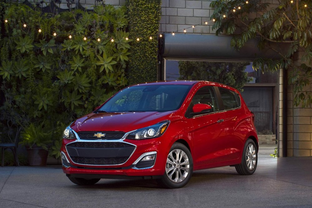 Exterior front photo of a red 2022 Chevrolet Spark