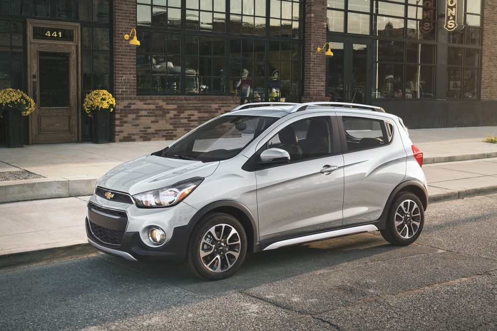 Exterior front photo of a silver 2022 Chevrolet Spark