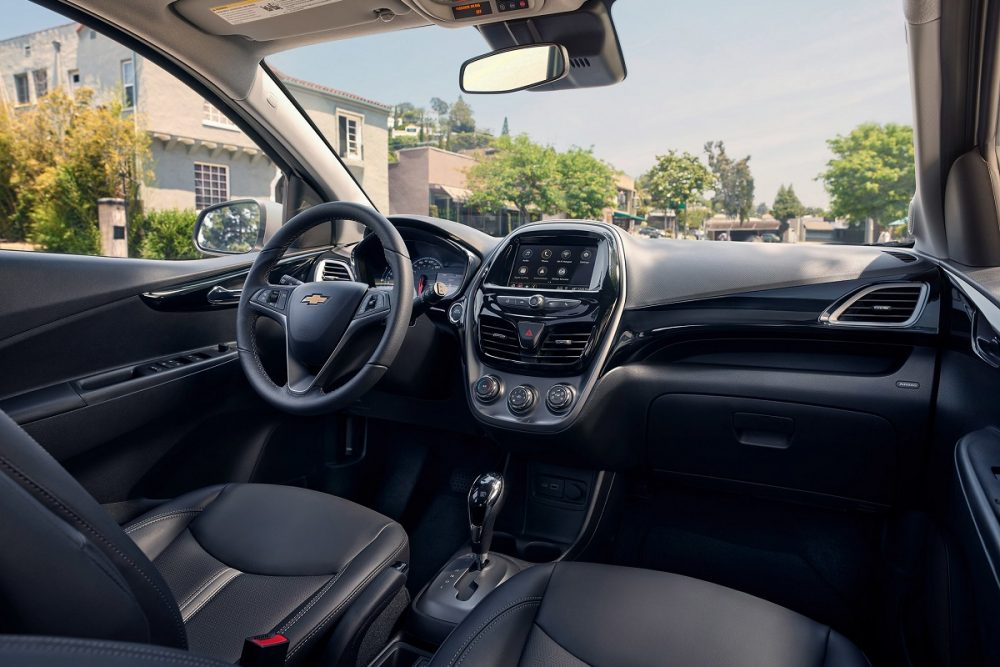 Close up of the front seat area in the 2022 Chevrolet Spark