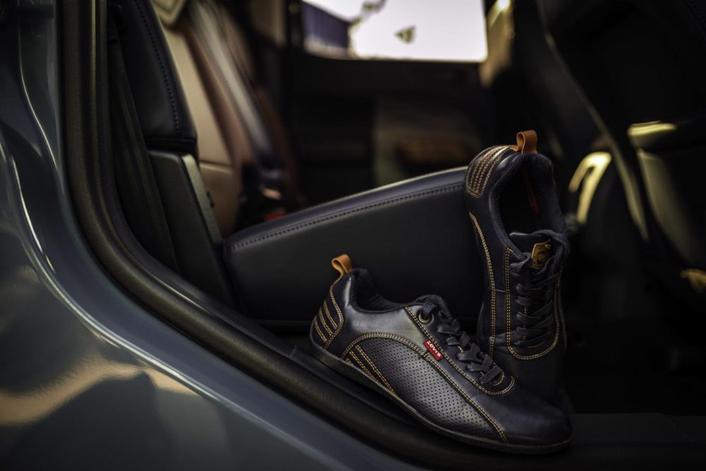 2022 Ford Maverick Lariat interior with inspiration Levi's shoes