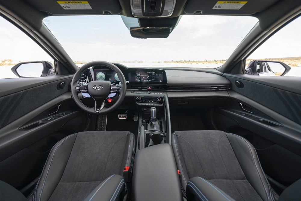 2022 Hyundai Elantra N front seats, steering wheel, dashboard, and center console