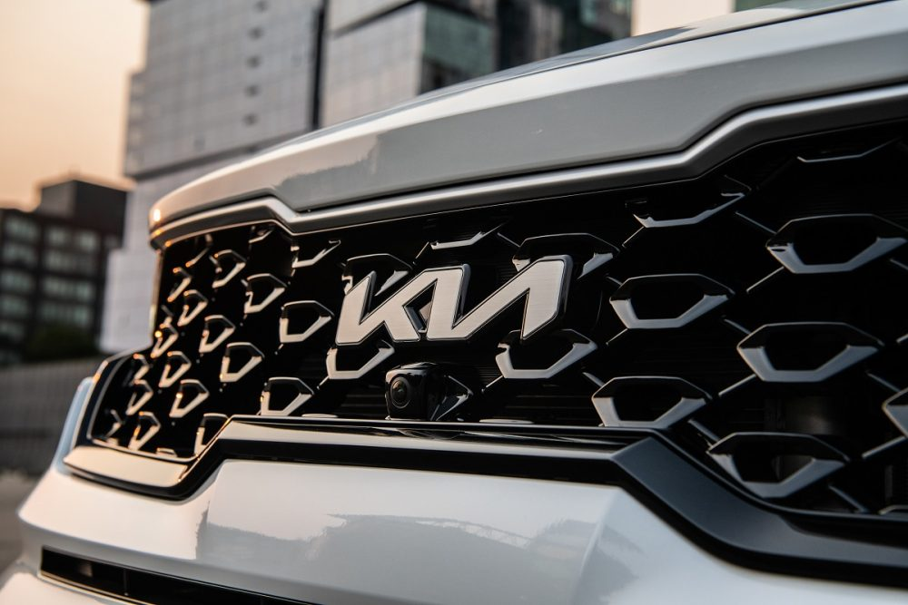 Close up of the 2022 Kia Sorento PHEV's grille with the Kia logo