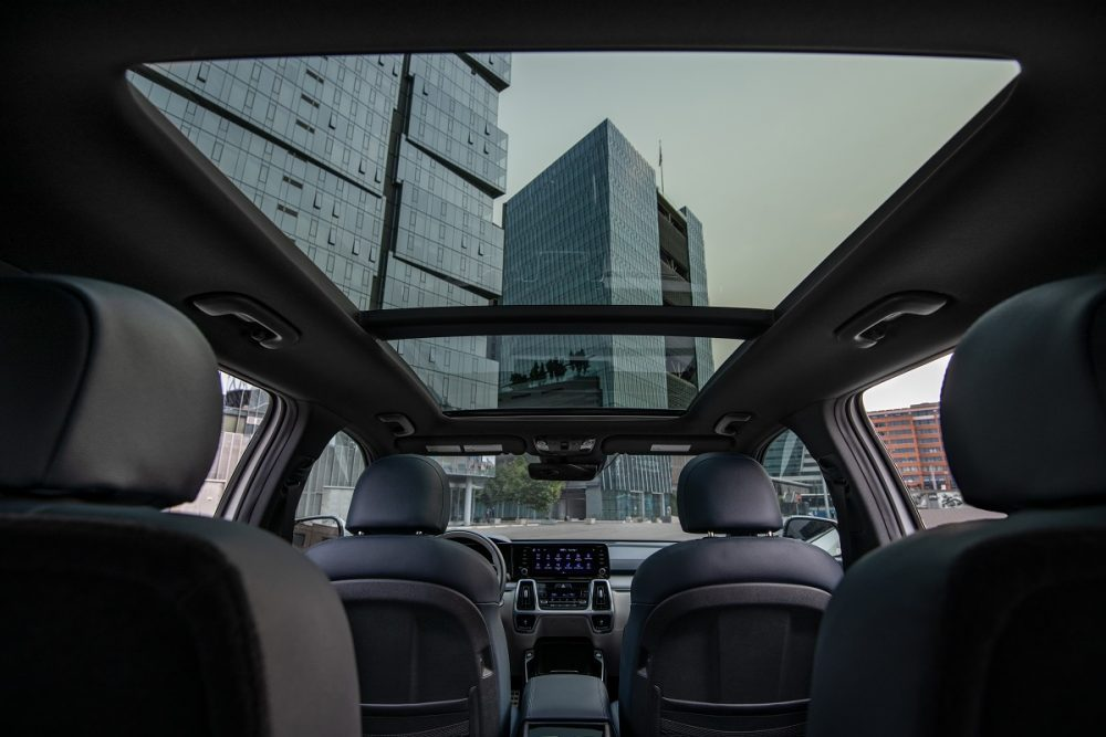 View looking up at the dual-pane sunroof inside the 2022 Kia Sorento PHEV