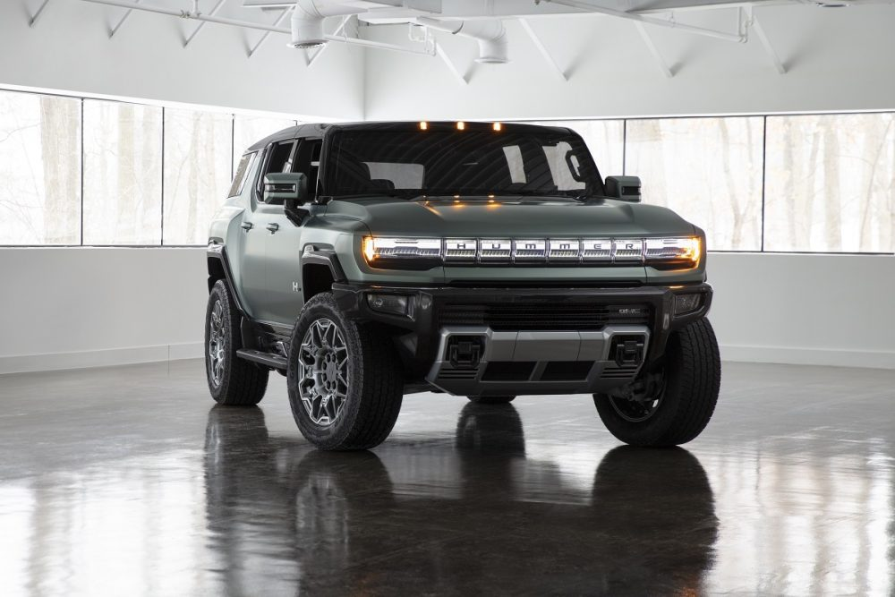 Front exterior view of the 2024 GMC Hummer EV SUV