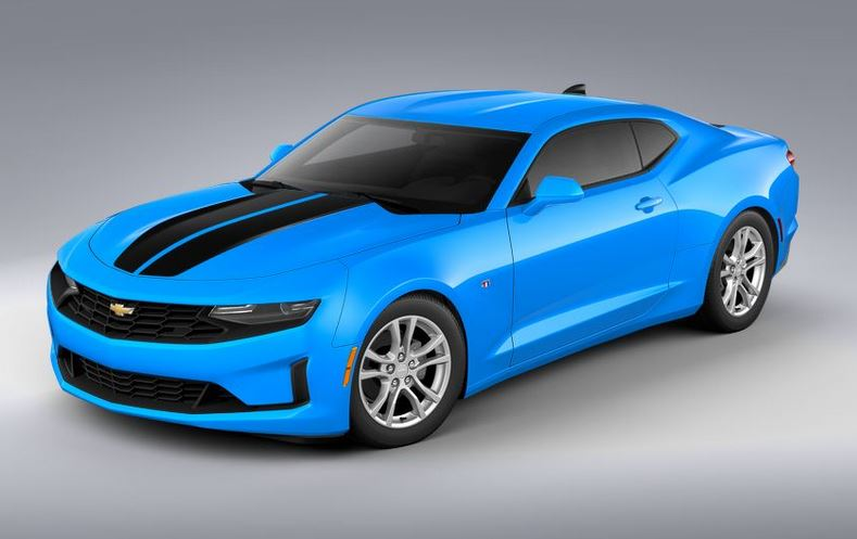Rapid Blue 2022 Camaro Coupe with black rally stripes