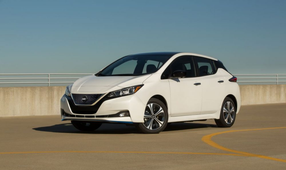 Side view of a white 2022 Nissan Leaf SV Plus