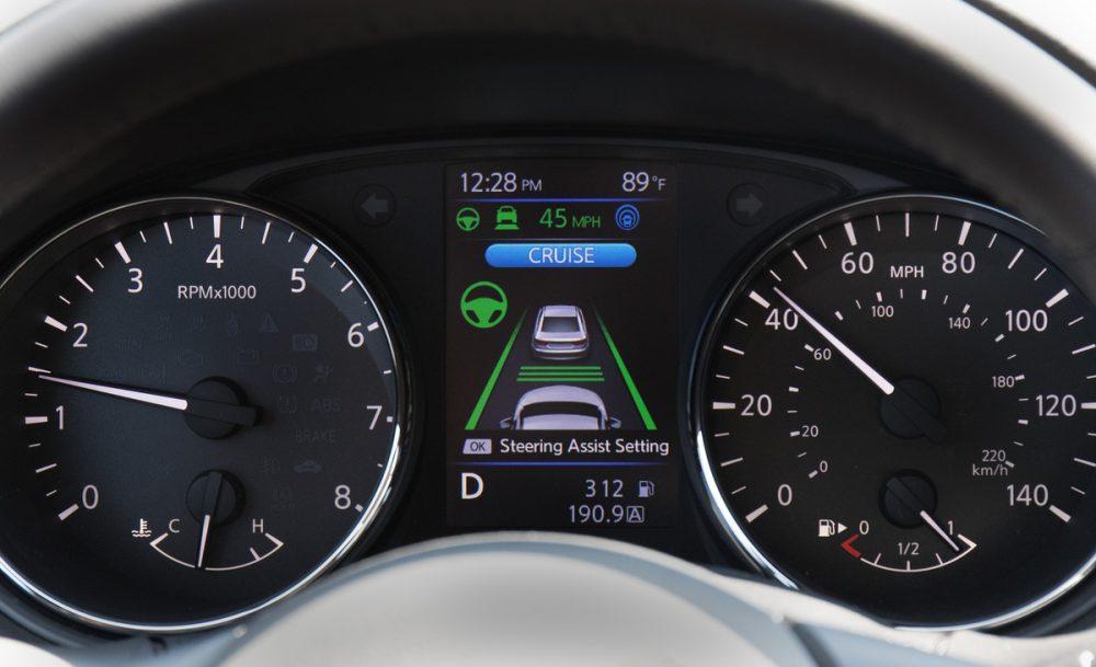 Nissan ProPILOT Assist technology adaptive cruise control settings on a dashboard