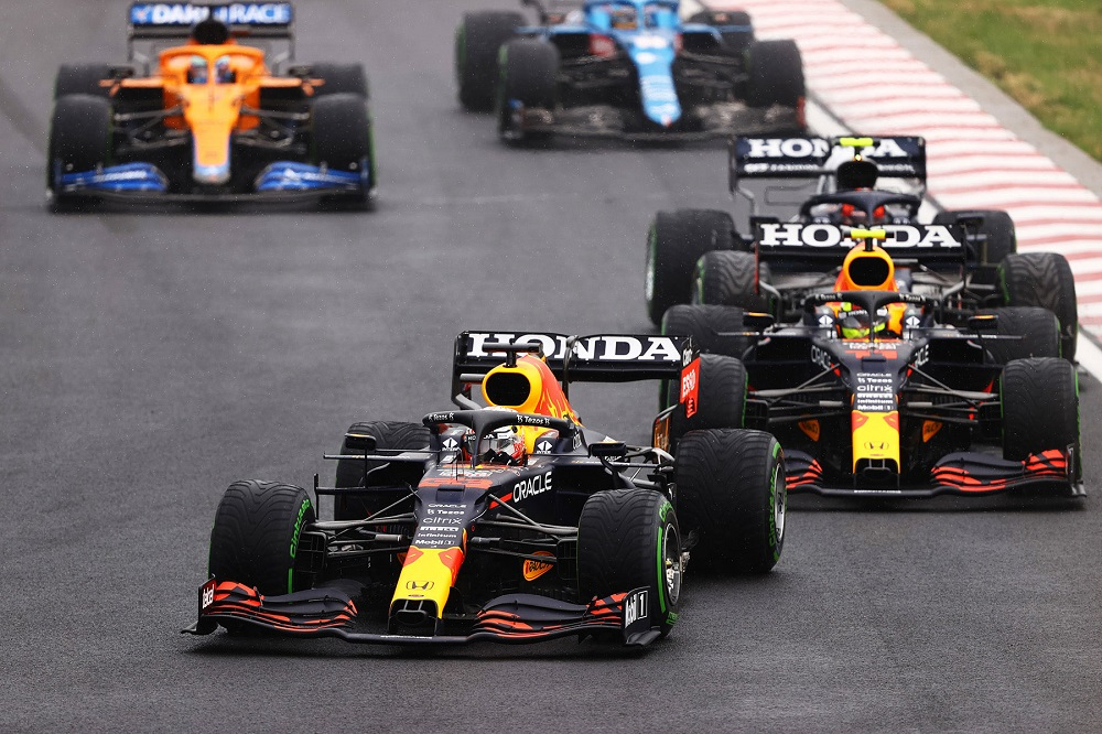 The two Red Bull cars seconds before calamity at the 2021 Hungarian Grand Prix