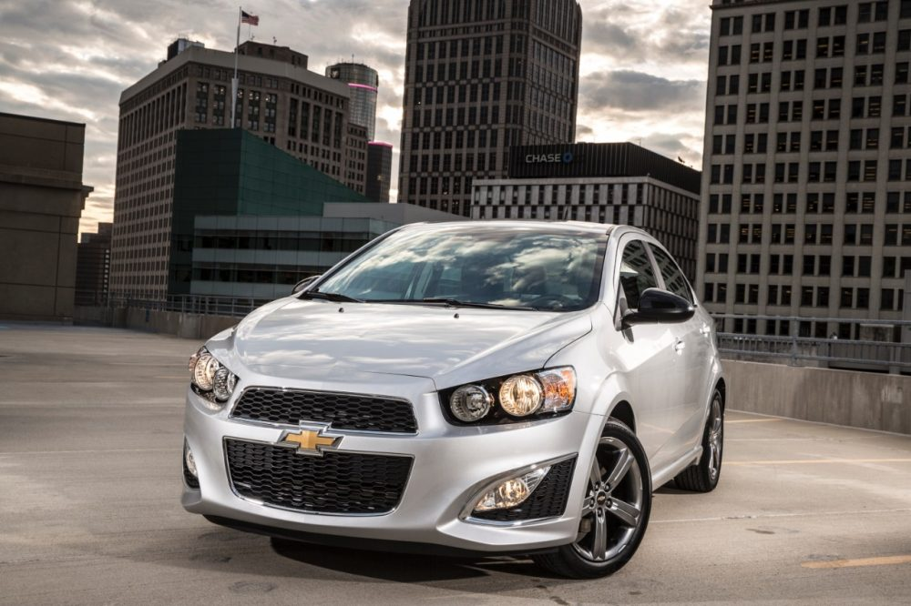 The 2016 Chevrolet Sonic RS sedan parked in a city