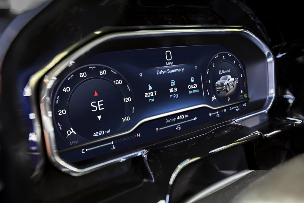 Close-up of 2022 Chevrolet Silverado 1500 LT digital instrument cluster