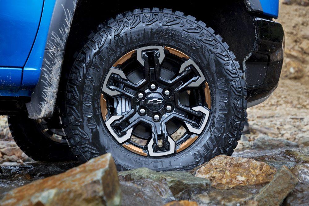 Close-up of 2022 Chevrolet Silverado 1500 ZR2 wheel and all-terrain tire