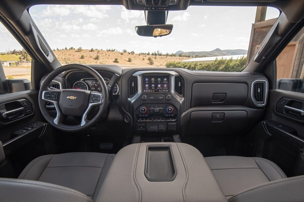 Interior front view of the 2022 Chevrolet Silverado 2500HD in gray and black