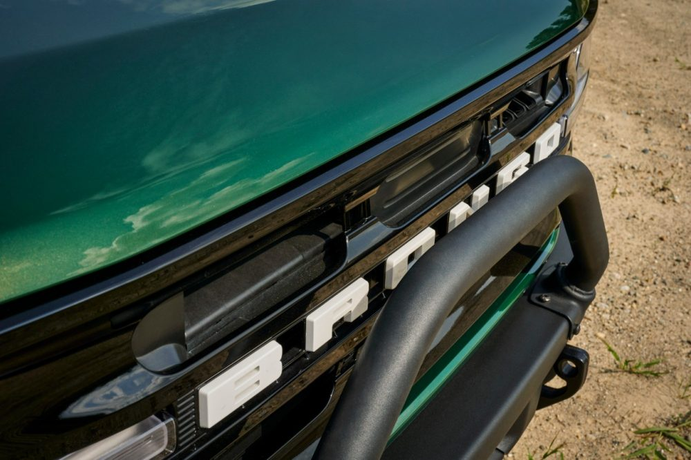 2022 Ford Bronco four-door in Eruption Green grille from high angle