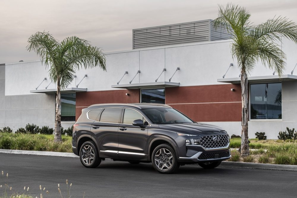 Front side view of 2022 Hyundai Santa Fe parked between palm trees in front of building