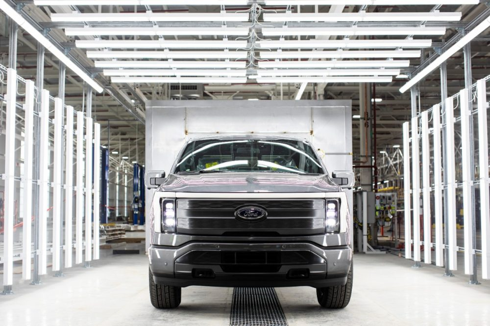 A near-complete pre-production 2022 Ford F-150 Lighting at the Ford Rouge Electric Vehicle Center