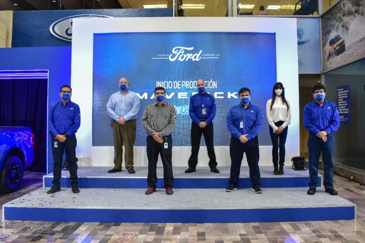 Ford of Mexico employees celebrating the start of production on the 2022 Ford Maverick