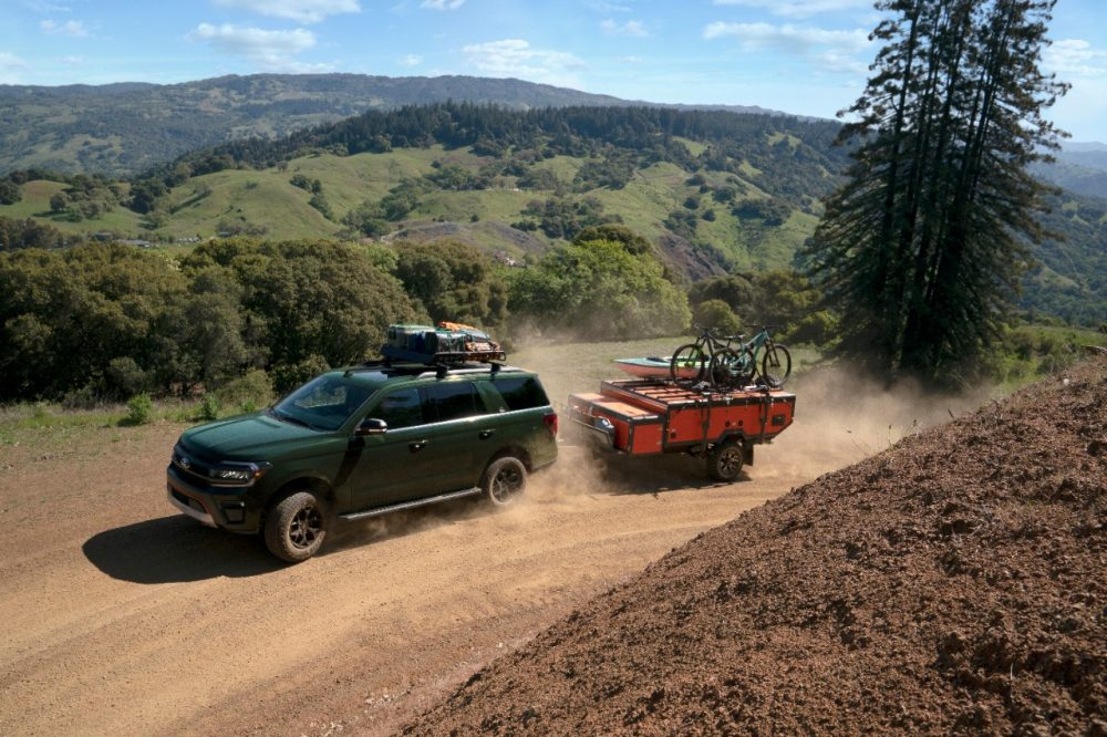 2022 Ford Expedition Timberline towing along a path