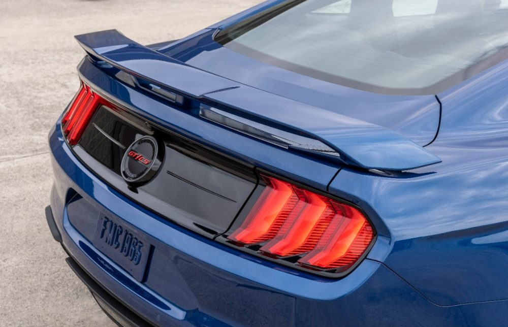 2022 Ford Mustang GT California Special in Atlas Blue rear taillamps and GT/CS badge