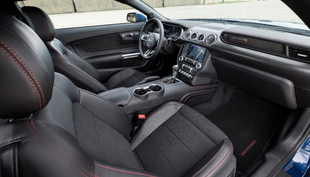 2022 Ford Mustang GT California Special front seats with Miko suede insert and red stitching