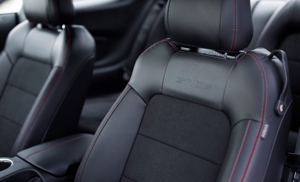 2022 Ford Mustang GT California Special front seat with Miko suede insert and red stitching