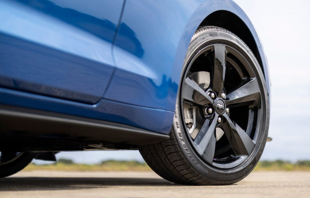 2022 Ford Mustang Stealth Edition in Atlas Blue wheel closeup