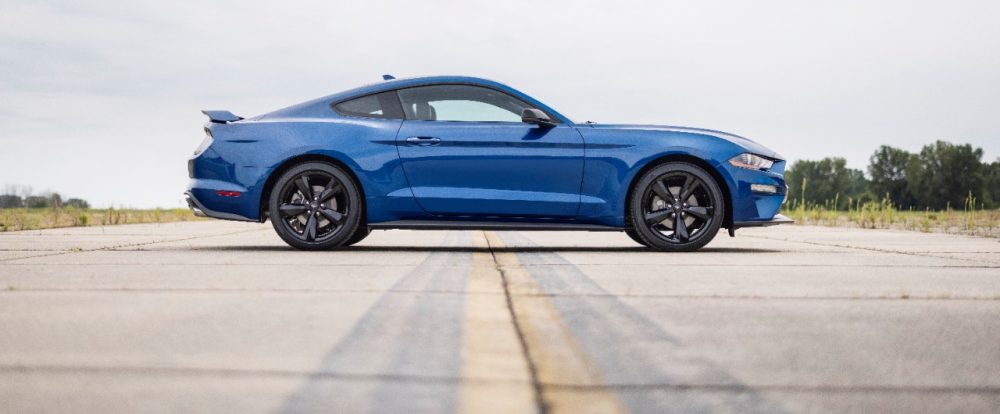 2022 Ford Mustang Stealth Edition in Atlas Blue side view