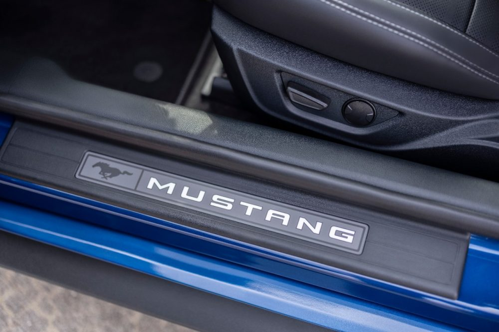 2022 Ford Mustang Stealth Edition in Atlas Blue Mustang lighted sill plate