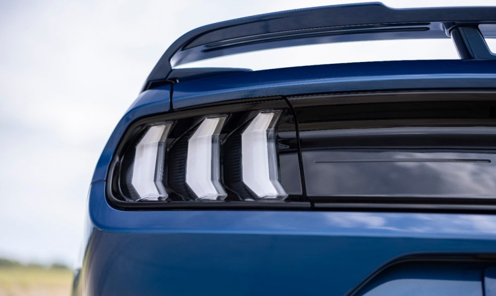 2022 Ford Mustang Stealth Edition in Atlas Blue clear tri-bar taillamp covers