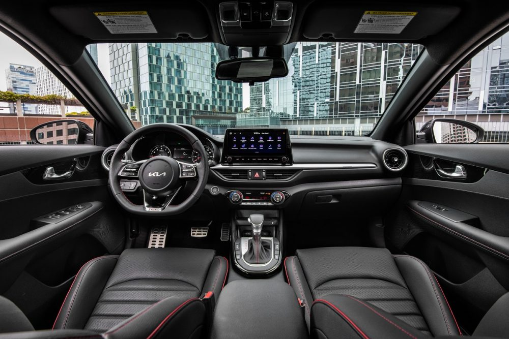 Interior view of the front seat area in the 2022 Kia Forte