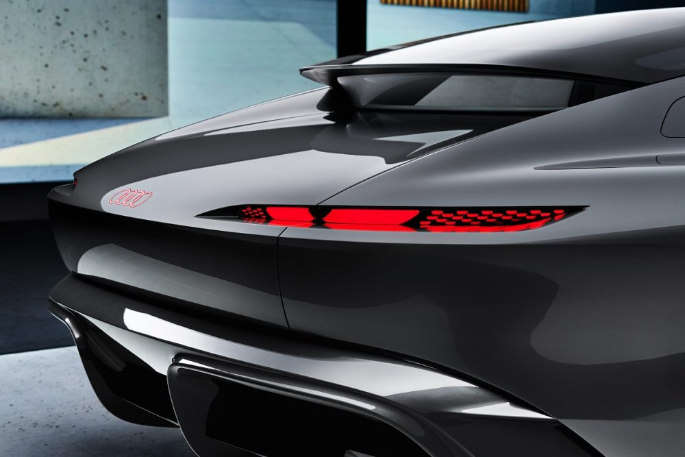 Close up of the rear of the Audi grandsphere concept, showcasing its rear brake lights and spoiler