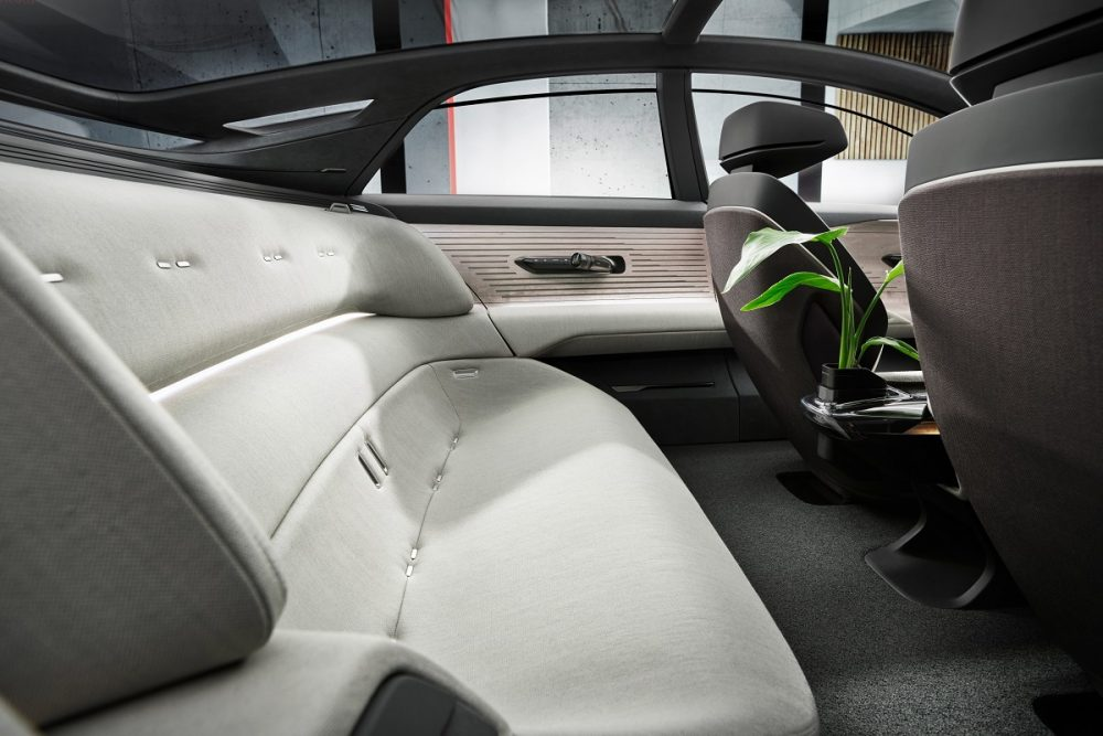 Interior back seat view of the Audi grandsphere concept