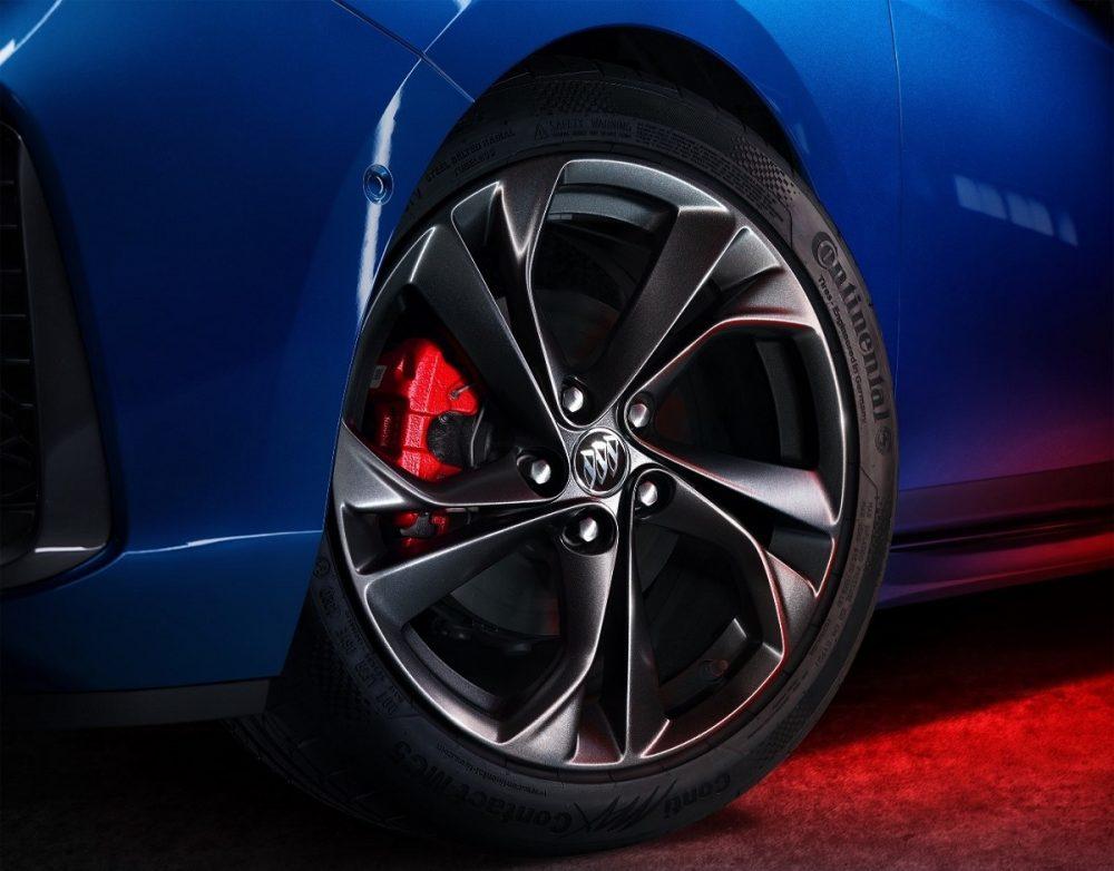 Close-up of Buick Verano Pro GS five-spoke wheel design